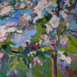 Apfelblüten, 2014, Öl auf Leinwand, 100 x 145 cm