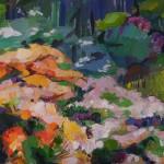 Azaleen blühen, 2014, Öl auf Leinwand, 100 x 145 cm