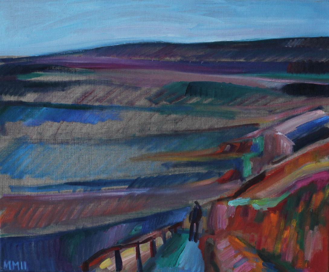 Weinberge in Radebeul, 2011, Öl auf Leinwand, 50 x 60 cm