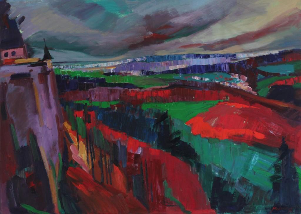 Blick von der Festung Königstein, 2012, Öl auf Leinwand, 100 x 140 cm