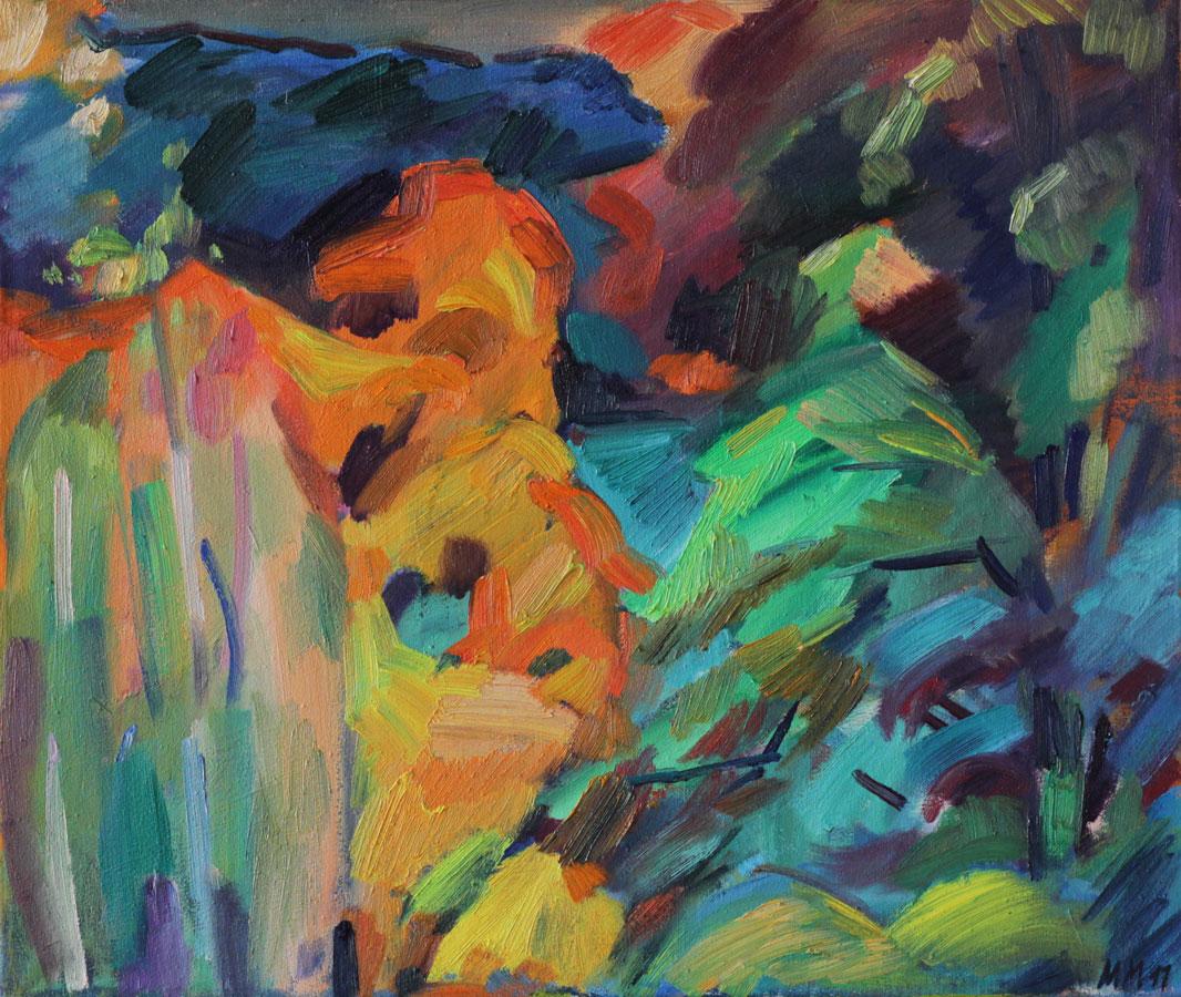 Es wird Herbst im Hof II, 2011, Öl auf Leinwand, 50 x 60 cm