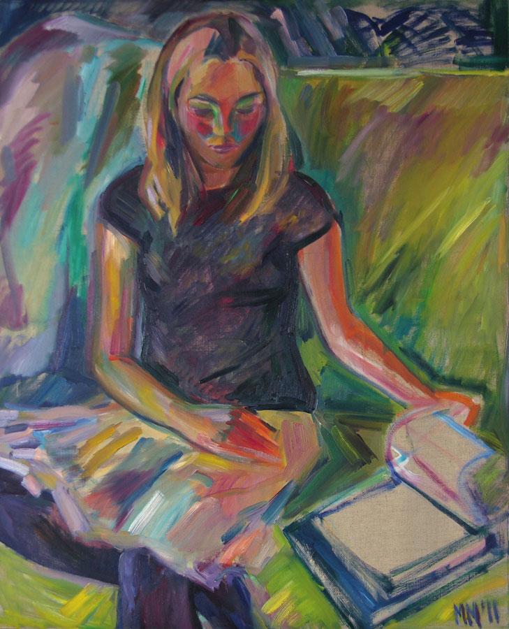 Margarita liest, 2011, Öl auf Leinwand, 100 x 80 cm