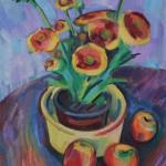 Stilleben mit Blumen im Topf, 2011, Öl auf Leinwand, 50 x 40 cm