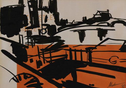 Mednikova - Dampfer am Terrassenufer II, 2012, Tusche auf Papier, 19 x 27 cm