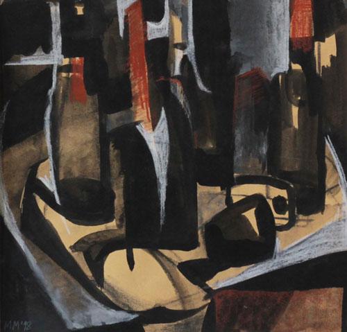 Mednikova - Stilleben mit Flaschen, 1998, Tusche und Kreide auf Papier, 31 x 30 cm