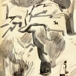 Mednikova - Winterszene I, 2010, Tusche auf Papier, 25 x 25 cm