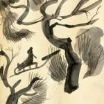 Mednikova - Winterszene II, 2010, Tusche auf Papier, 25 x 25 cm