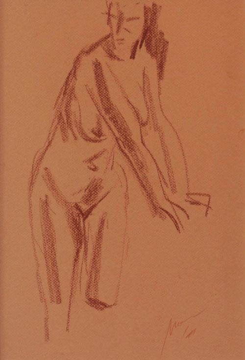 Mednikova - Akt, 2011, Kreide auf Papier, 29,5 x 42 cm