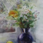 Mednikova - Stilleben am Fenster, 1999, Aquarell auf Papier, 46 x 32 cm