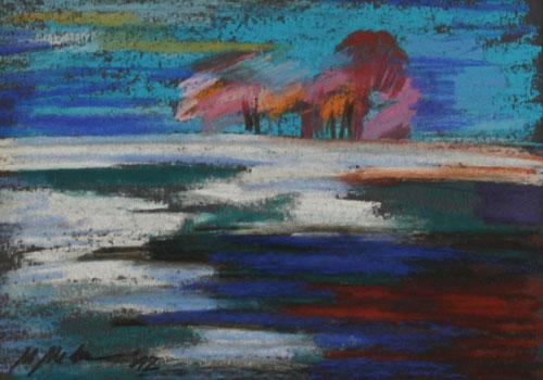 Mednikova - Tauwetter, 2012, Pastell auf Papier, 15 x 10 cm