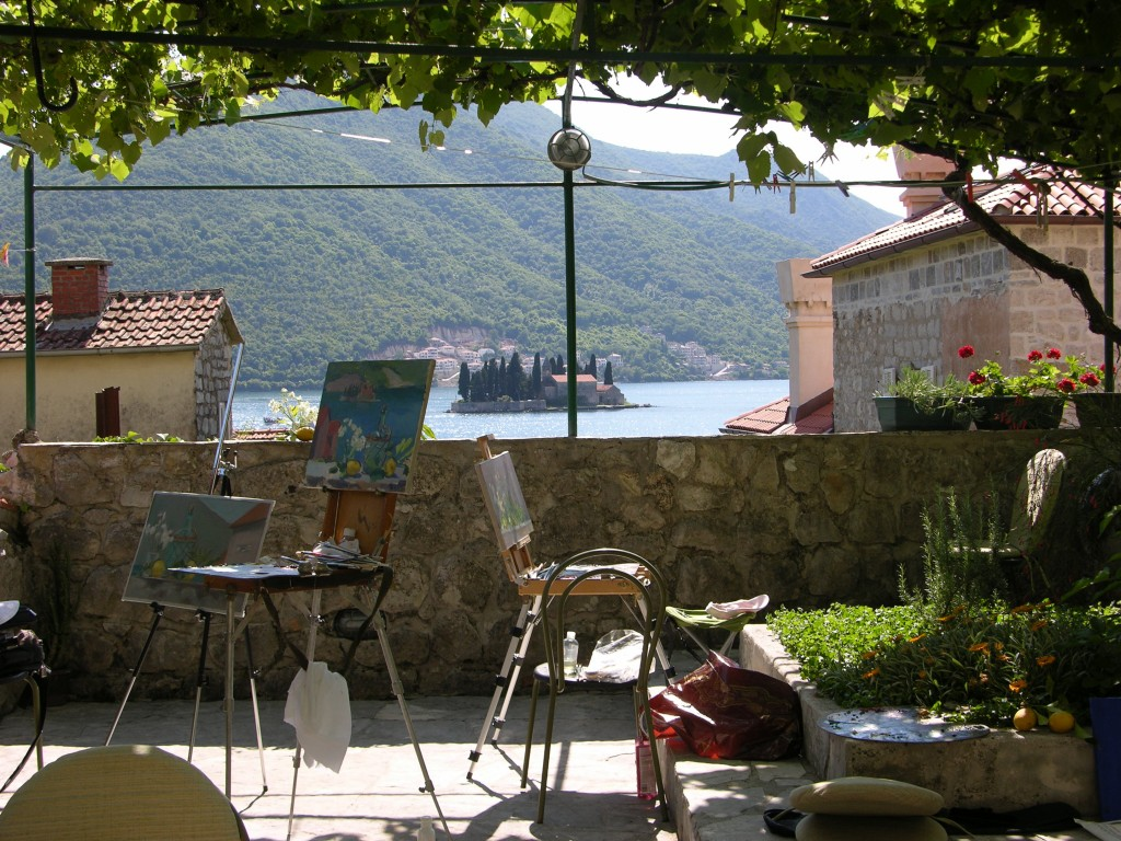 Pleinair in Perast, Montenegro, 2014