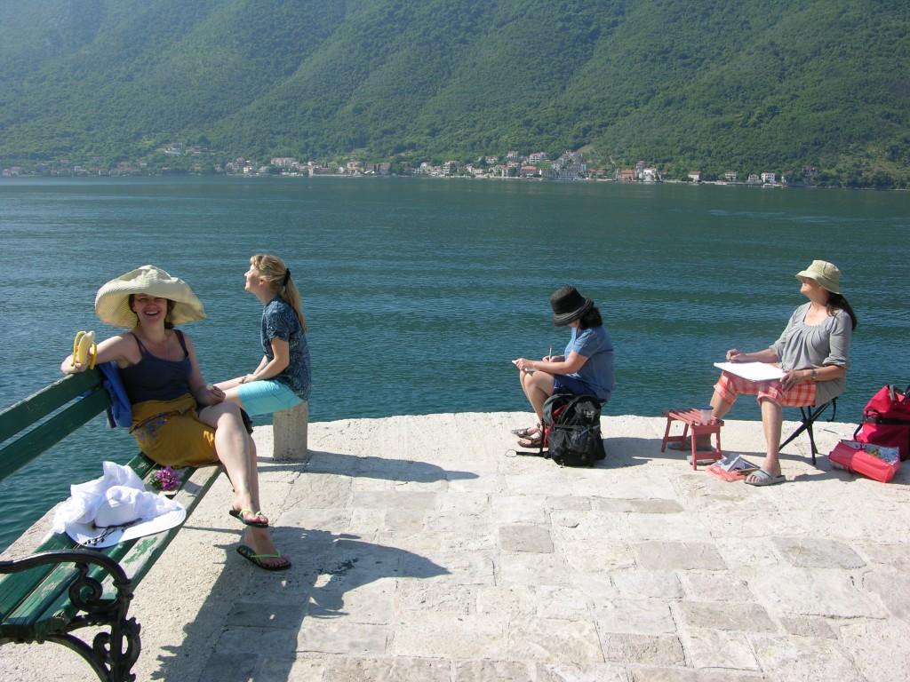 Pleinair in Perast, Montenegro, 2014