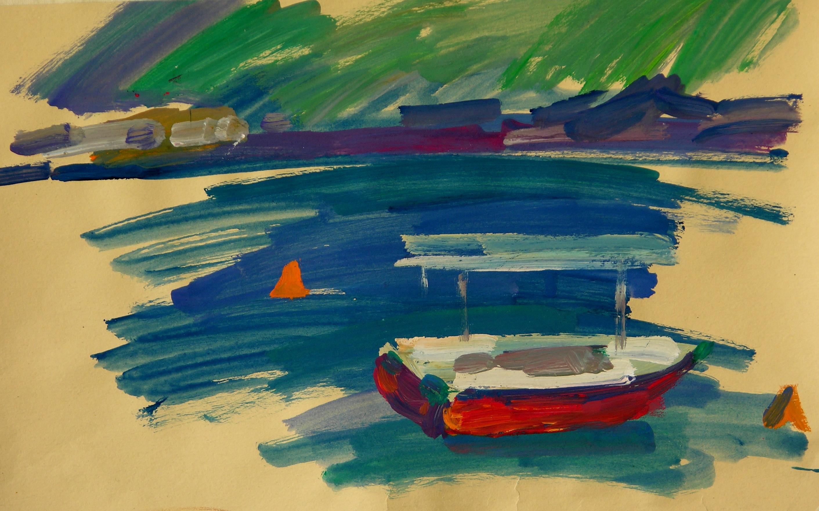 Mednikova - Das rote Boot, Guasche auf Papier