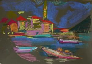 Mednikova - Die Nacht, Pastell auf Papier