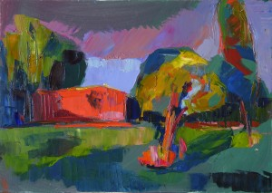 Abendsonne, 2014, 50 x 70 cm, Öl auf Leinwand