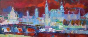Altstadtpanorama, 2014, 40 x 100 cm, Öl auf Leinwand
