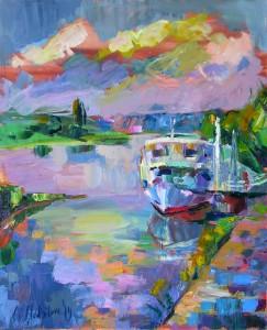 Pischner Hafen, 2014, 100 x 80 cm, Öl auf Leinwand