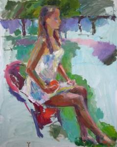 Mädchen mit Apfelsine, 2014, 120 x 145 cm, Öl auf Leinwand,