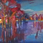 Bäume im Abendlicht, 2012, Öl auf Leinwand, 80 x 100 cm